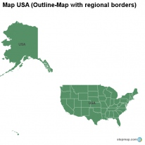 Map USA (Outline-Map with regional borders)