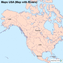 Maps USA (Map with Rivers)