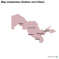 Map Usbekistan (Outline and Cities)