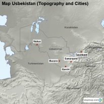 Map Usbekistan (Topography and Cities)