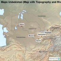 Maps Usbekistan (Map with Topography and Rivers)