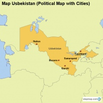 Map Usbekistan (Political Map with Cities)