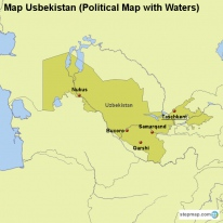 Map Usbekistan (Political Map with Waters)