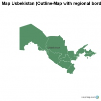 Map Usbekistan (Outline-Map with regional borders)