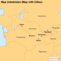 Map Usbekistan (Map with Cities)