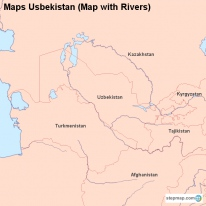 Maps Usbekistan (Map with Rivers)