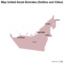 Map United Aarab Emirates (Outline and Cities)
