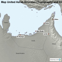 Map United Aarab Emirates (Topography and Cities)