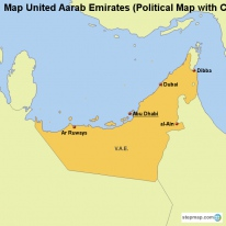 Map United Aarab Emirates (Political Map with Cities)