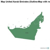 Map United Aarab Emirates (Outline-Map with regional borders)