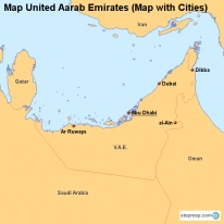 Map United Aarab Emirates (Map with Cities)