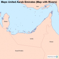 Maps United Aarab Emirates (Map with Rivers)