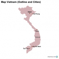 Map Vietnam (Outline and Cities)