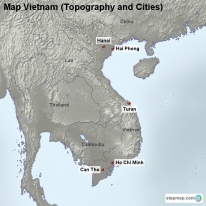 Map Vietnam (Topography and Cities)