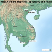 Maps Vietnam (Map with Topography and Rivers)