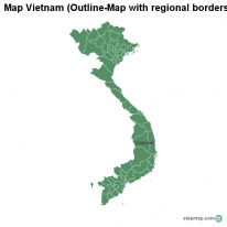 Map Vietnam (Outline-Map with regional borders)