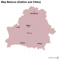 Map Belarus (Outline and Cities)