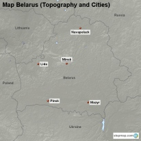 Map Belarus (Topography and Cities)