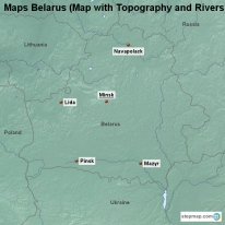 Maps Belarus (Map with Topography and Rivers)