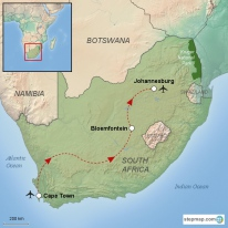 Stepmap maps of all continents and countries overview south africa travel route gumiabroncs Choice Image