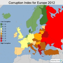 Stepmap maps of all continents and countries overview corruption index for europe 2012 gumiabroncs Image collections