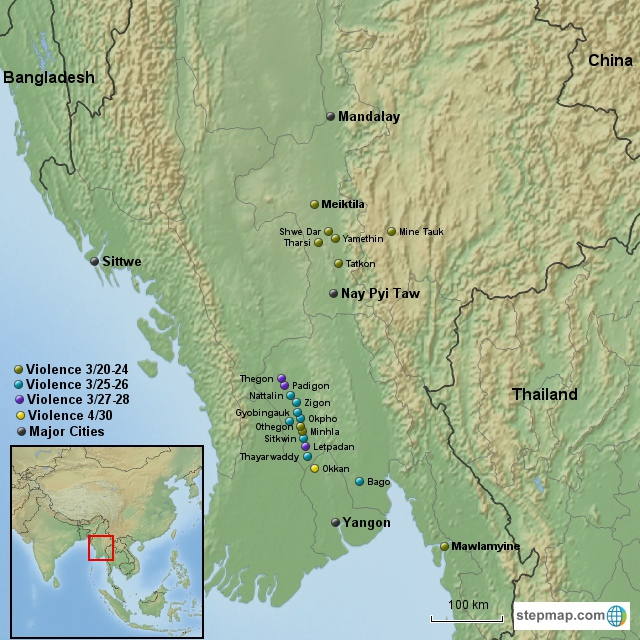 Conflict in Myanmar March-April Topo