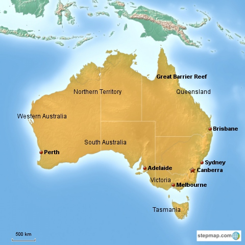 Country Map Of Australia.Australian Map Flag And Country Facts