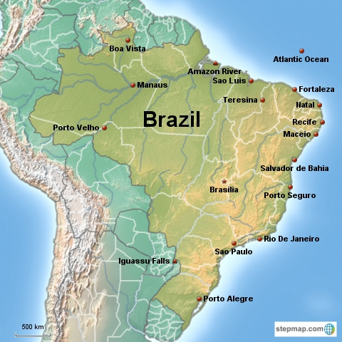 Brazilian Map Flag And Country Facts - Brazil population map