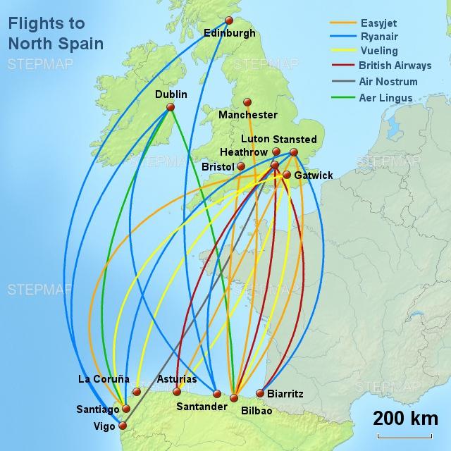 Flights routes UK N Spain