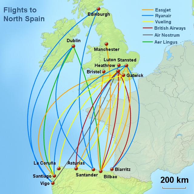 flights routes uk n spain