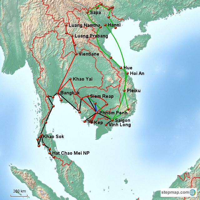 from Laos to Malaysian border