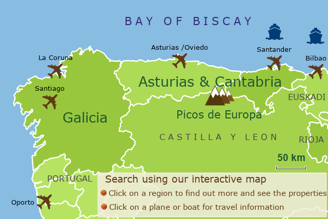 Map Of Northern Spain.Accommodation Northern Spain Casas Cantabricas