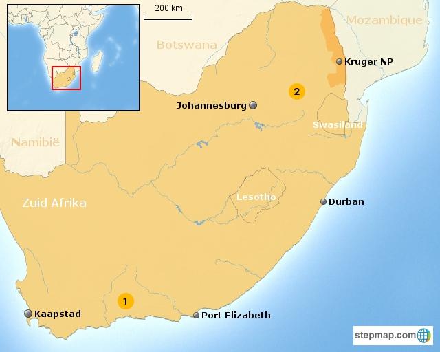 Zuid-Afrika Kids regiokaart thema regio