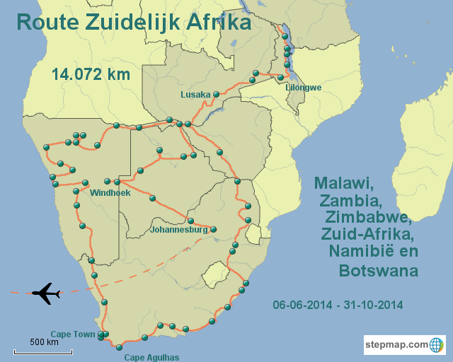 Route Zuid-Afrika