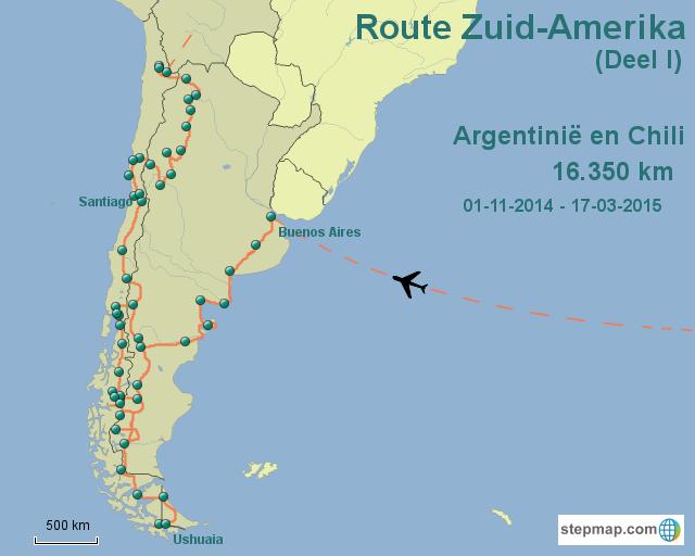Route Zuid-Amerika Deel I