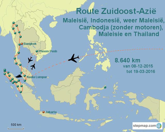 Route Zuidoost-Azie