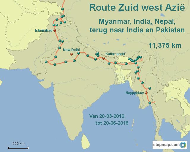 Route Zuid-Azië