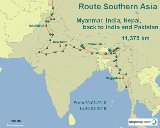 Route Southern Asia