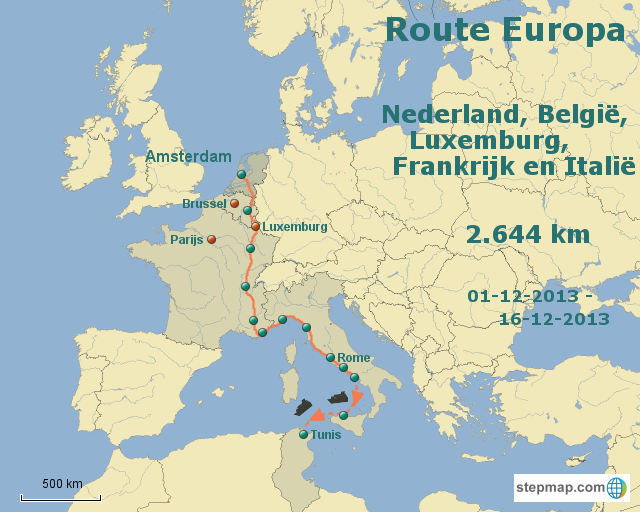 Route Europa Amsterdam to Anywhere