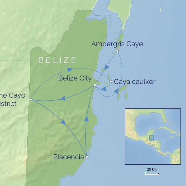 Tour Map - CENTRAL AMERICA - BELIZE - Rainforest, Reef & Ruins