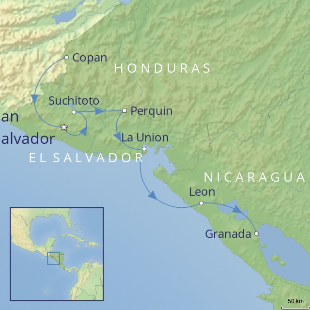 Tour Map - CENTRAL AMERICA - HONDURAS - EL SALAVDOR - NICARAGUA - Back Roads of Central America