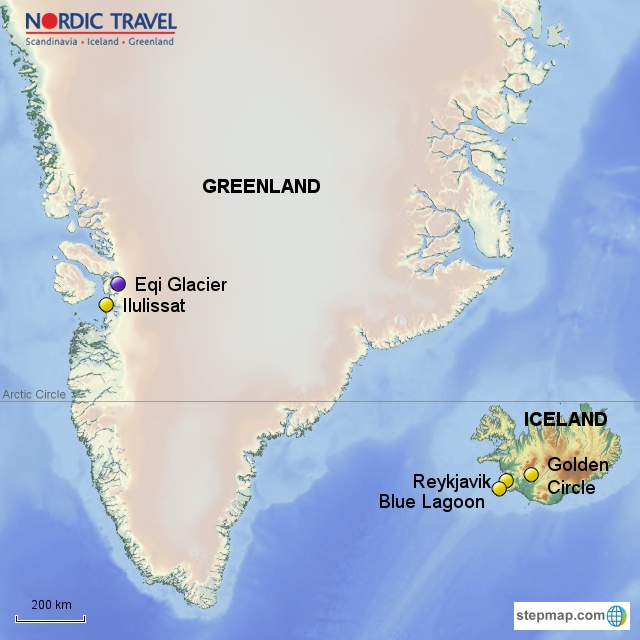 Explore ilulissat west greenland iceland the faroe islands discover the north atlantic greenland iceland map publicscrutiny Gallery