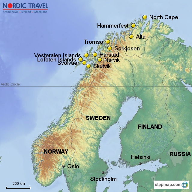 Cape Lofoten Islands - Norway map lofoten islands
