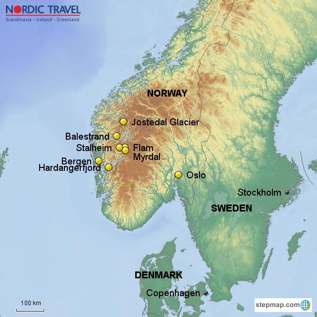 Unique Fjords - Norway glacier map