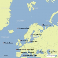 European bodies of water and land masses