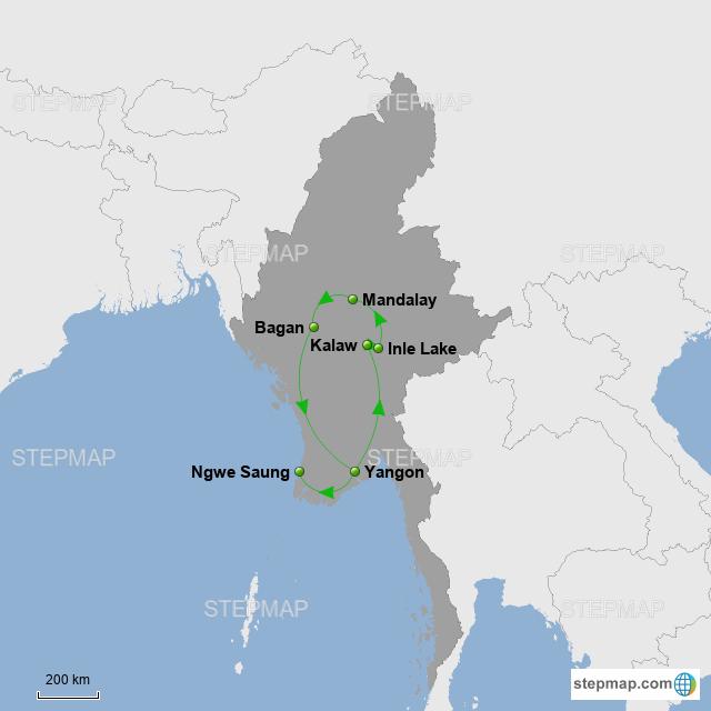 Myanmar Reiseroute