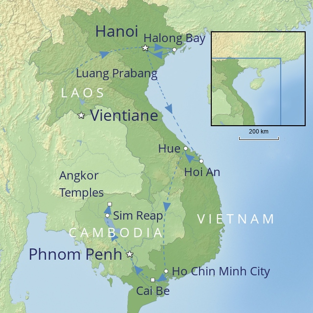 W102 FAR EAST LAOS CAMBODIA AND VIETNAM GRAND TOUR OF INDOCHINA WITH COUNTRY NAMES