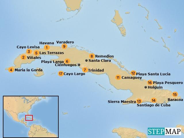 Cuba overzichtskaart