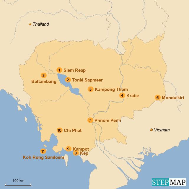 cambodja kaart Kaart Cambodja | Cambodja NL
