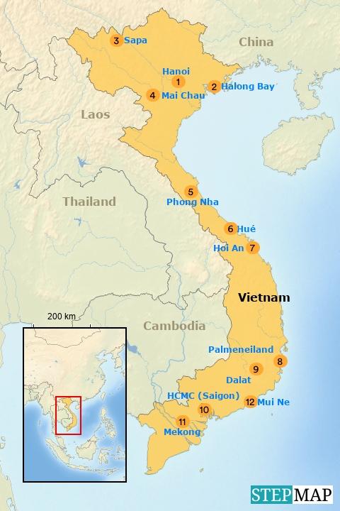 kaart vietnam Kaart Vietnam   Riksja Family Vietnam